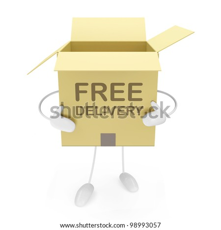 Open Carton Box with hands and legs isolated on white background - stock photo