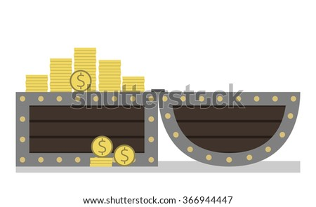 Open chest full of golden dollar coins. Treasure, a lot of money isolated on white background. Side view - stock photo