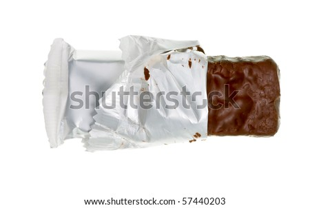 Open chocolate or cereal bar on white background - stock photo