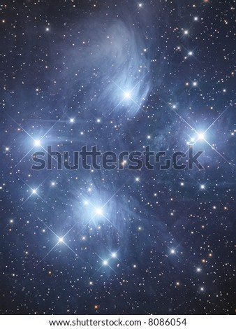 Open cluster M45 The Pleiads - stock photo