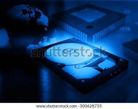 open computer hard disk drive on digital background  - stock photo