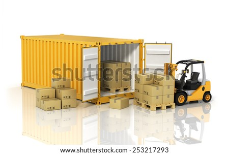 Open container with forklift stacker loader holding cardboard boxes. Transportation concept. - stock photo