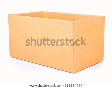 open corrugated cardboard box on white background - stock photo