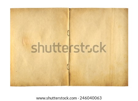 Open cover writing-book with  metal clip for record on the isolated white background  - stock photo