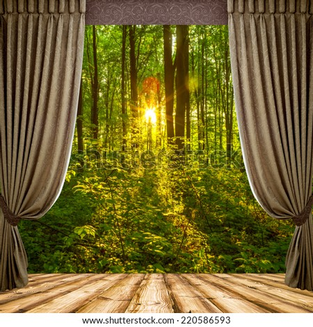Open curtains on the background of the forest autumn background - stock photo