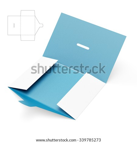 Open Custom Folder with Die Cut Template - stock photo