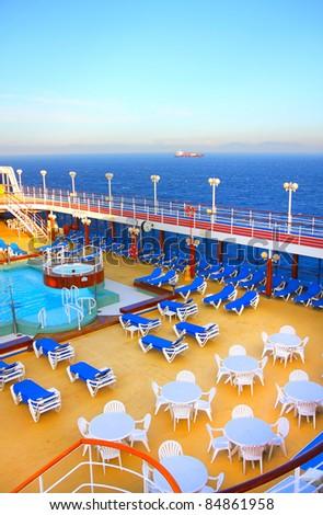 Open deck on a beautiful cruiseship - stock photo