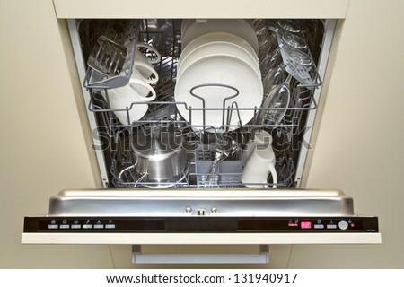 open dishwasher - stock photo