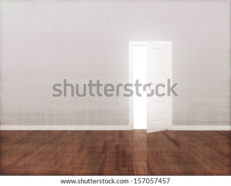 Open door copy space wall and wooden floor  - stock photo