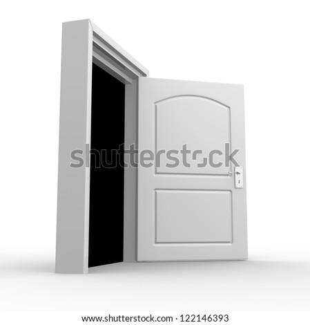 Open door. 3d render - stock photo