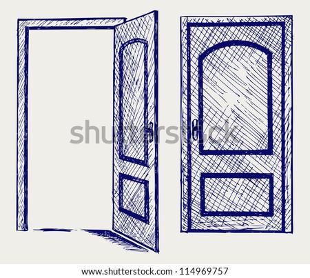 Open door. Doodle style. Raster version - stock photo