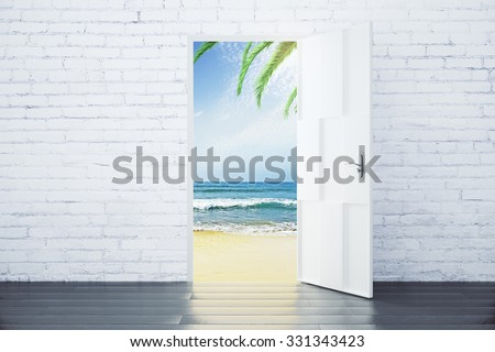 Open door in a beach with ocean waves and palm trees, concept - stock photo