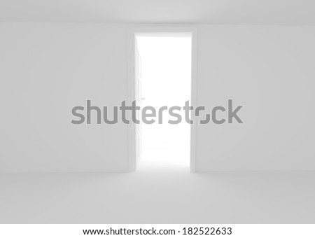 open door in white wall - stock photo