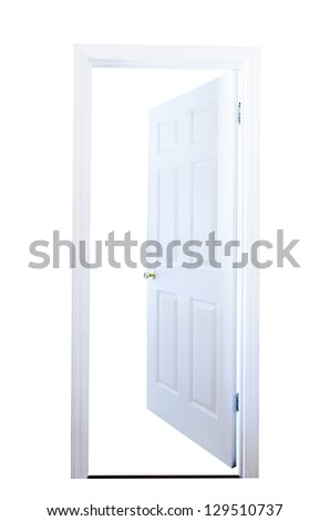Open door isolated on white background with clipping path. - stock photo
