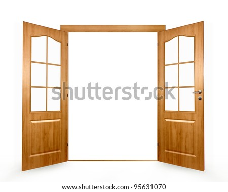 Open door on a white background - stock photo