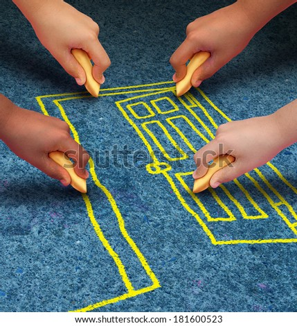 Open door opportunity and community freedom concept for access to learning and education services with a group of hands of ethnic groups of young people holding chalk cooperating to draw a doorway. - stock photo