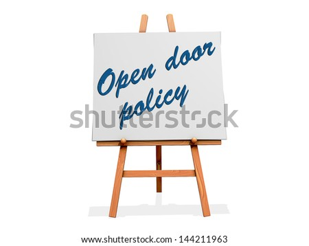 Open Door Policy on a sign. - stock photo
