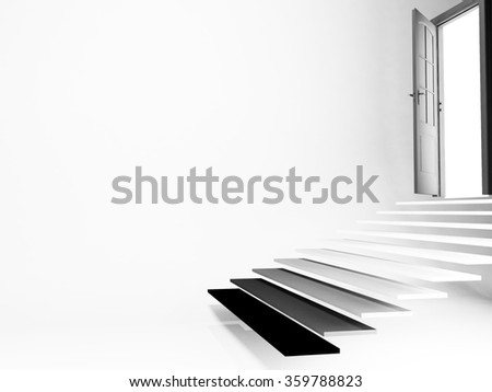 open door, stairs, empty room, 3d rendering - stock photo