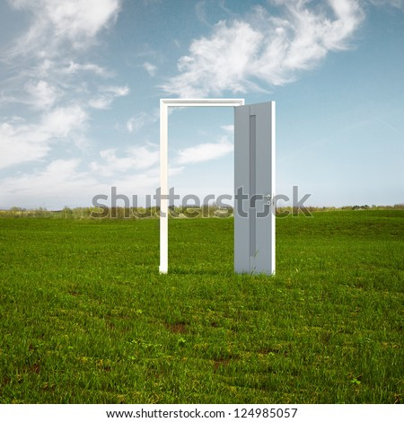Open door to new life on the field isolated on a white background - stock photo