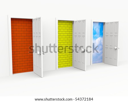 open doors. 3d on white - stock photo