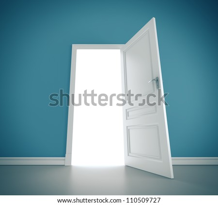 open doors in blue room - stock photo