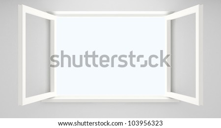 Open double casement window in an empty white room. - stock photo