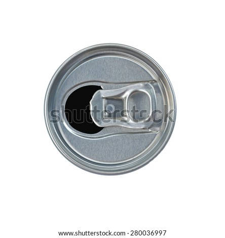 open drink can top view isolate with clipping path - stock photo