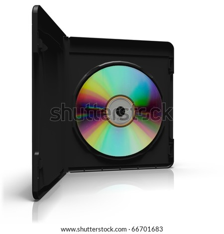 Open DVD box with disc on white background - stock photo