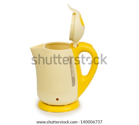 Open electric yellow tea kettle isolated on white background - stock photo