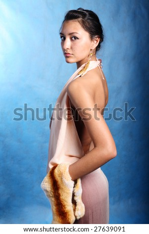 Open elegant woman in dress - stock photo