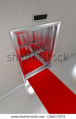 Open elevator with red carpet. - stock photo