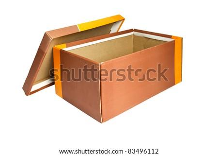 Open Empty box isolated on white - stock photo