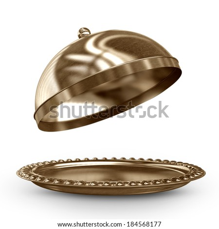 open empty bronze platter or cloche with space to place object  isolated on white background High resolution 3D image  - stock photo