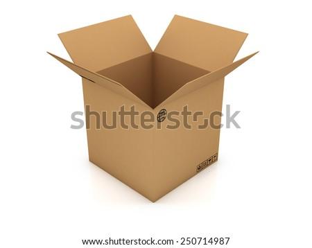 open empty cardboard box 3d illustration, isolated on white background - stock photo