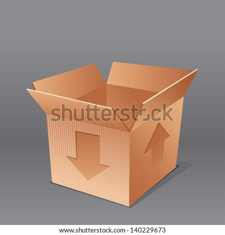 open empty cardboard box illustration, isolated on grey background. rasterized/bitmap version - stock photo