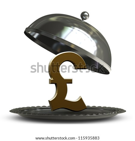 open empty metal silver platter or cloche with British pound symbol  isolated on white background 3d render - stock photo