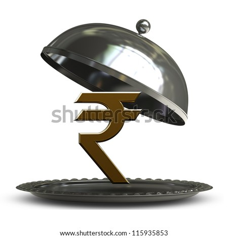 open empty metal silver platter or cloche with Indian rupee symbol isolated on white background 3d render - stock photo