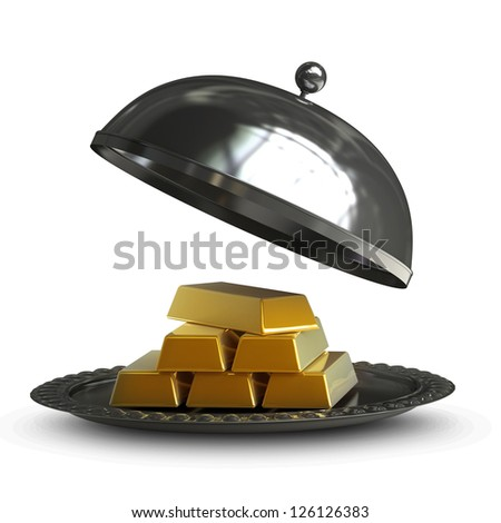 open empty metal silver platter with gold bars isolated on white background High resolution 3d illustration. - stock photo