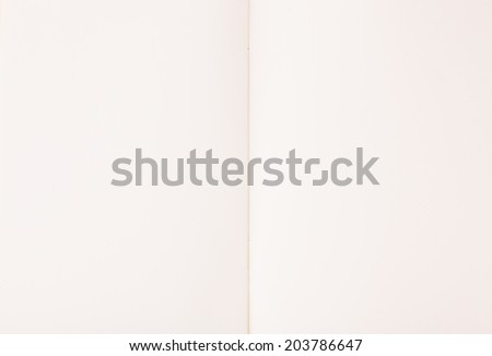 Open empty notebook on white paper background - stock photo