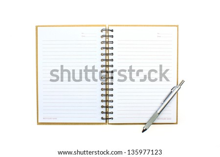Open empty notebook with pen and lined pages - stock photo