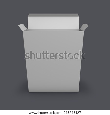 Open empty product box standing on floor with shadow, blank background for your illustration. Grey background template. - stock photo