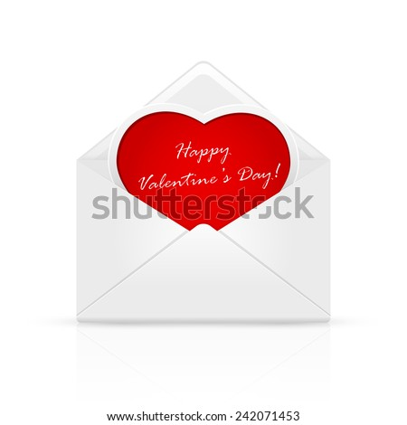Open envelope mail with Valentines congratulation on red heart, illustration. - stock photo