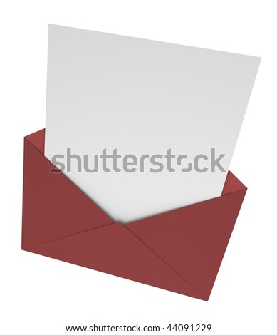 Open envelope with a letter. 3D rendered image. - stock photo