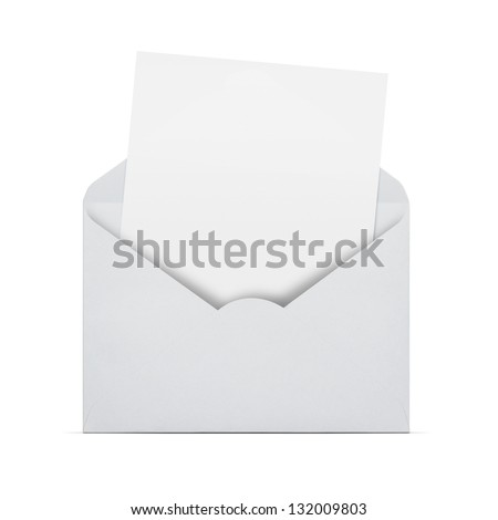 Open envelope with blank letter coming out isolated on white background with copy space for some text - stock photo
