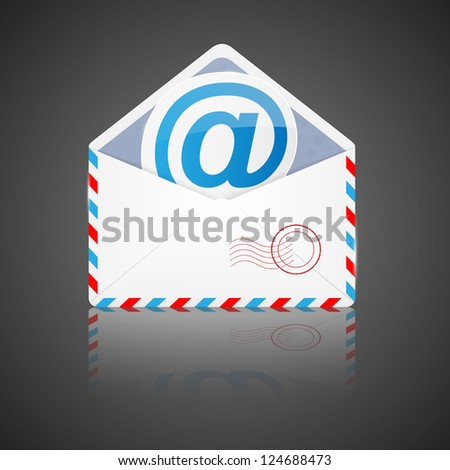 Open envelope with email. Illustration. - stock photo