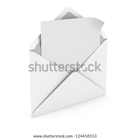Open envelope with paper - stock photo