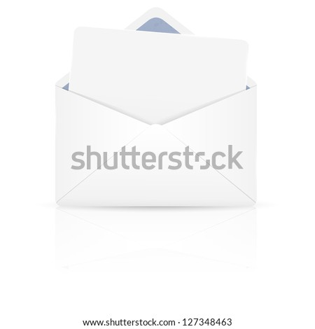 Open envelope with white paper. Illustration. - stock photo