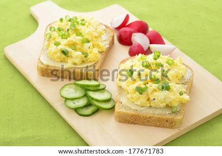 Open face egg salad sandwich with radish and cucumber slices - stock photo