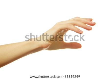 open female hand isolated on a white background - stock photo