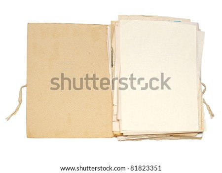 Open file with sheets of paper - stock photo